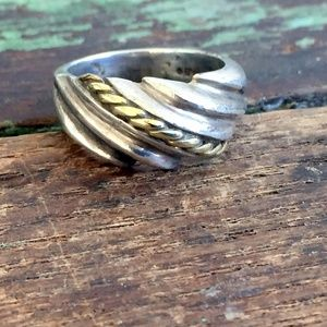 Vintage 925 Sterling Ring Dome Band Abstract Gold